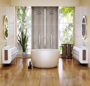 elegant bathroom with dark floor tiles in Airdrie
