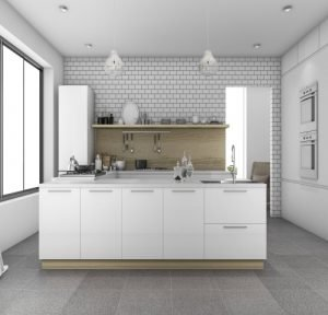 kitchen with white brick tiled wall and large tiled floor in Coatbridge